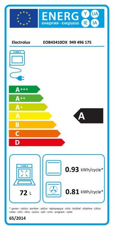 Iebūvējamā cepeškrāsns Electrolux EOB43410OX 72l, 2780W