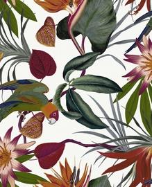 Tapetas flizelino pagrindu, Graham & Brown, 108601, Paradise, baltas su lapais ir rožinėmis papūgomis