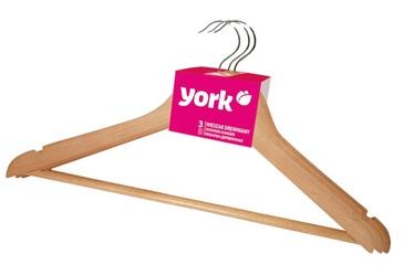 Medinių drabužių pakabų komplektas York, su skersiniu, 3 vnt