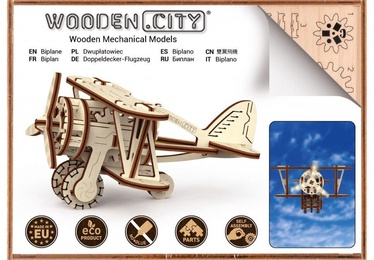 3D mīkla Wooden City Model Biplane, 63 gab.