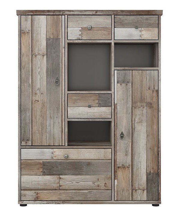 Kumode Black Red White Tarbes 1 Canyon Oak, 99x39x133 cm