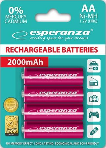 Uzlādējamais elements Esperanza Rechargaeble Batteries 4x AA 2000mAh Red