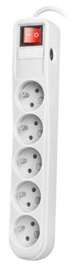 Natec Surge Protector 5 Outlet White 1.5m