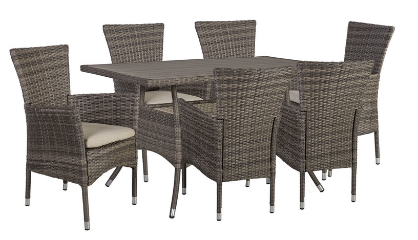 Home4you Paloma Table And 6 Chairs Set Brown