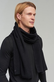 Audimas Knitted Merino Wool Scarf With Cashmere Black