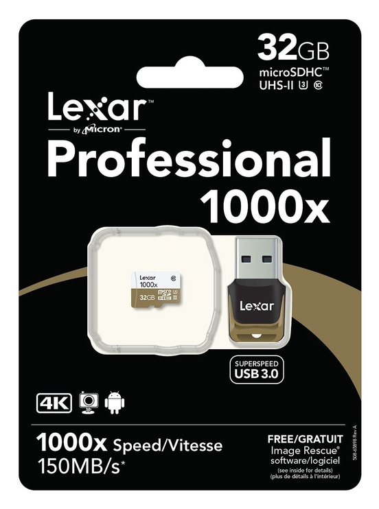 Mälukaart Lexar 32GB Micro SDHC UHS-II 1000x U3 Class 10 + USB Reader