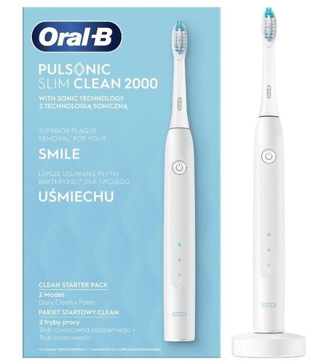 Электрическая зубная щетка Oral-B Pulsonic Slim Clean 2000 White, белый