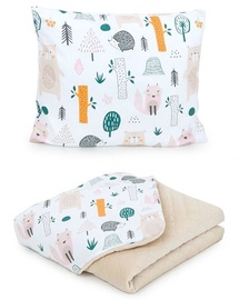 MamoTato Baby Blanket And Pillow Forest Cream