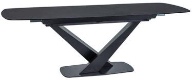 Pusdienu galds Signal Meble Cassino I Black Matte, 1600x1600x900 mm