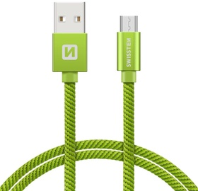 Swissten Textile Micro USB Data and Charging Cable 1.2m Green