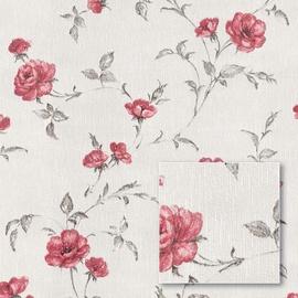 Tapetas flizelino pagrindu Sintra 429020 Summer Garden, baltas su raudonomis rožėmis