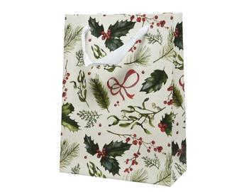Kalėdinis popierinis dovanų maišelis, 8x18x24 cm
