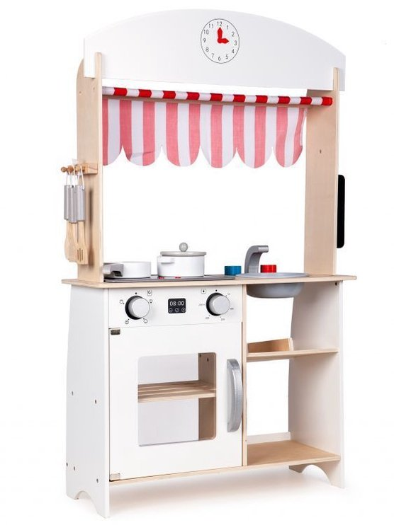 EcoToys Wooden Kitchen Shop Stall With Extras