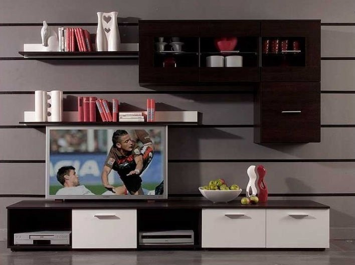 Cama Meble Wall Unit Logo I Without Lights Wenge