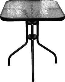 Lauko stalas Besk, skaidrus/juodas, 60 x 60 x 70 cm