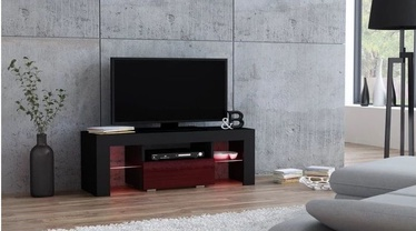 TV staliukas Pro Meble Milano 110 With Light Black/Red, 1100x350x450 mm