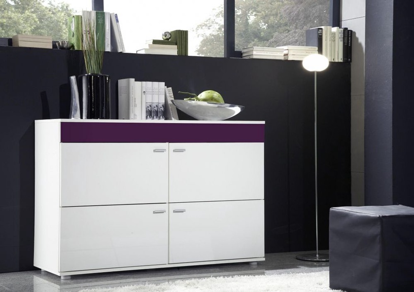 Kumode Cama Meble Logo II 120 White/Violet Gloss, 120x42x78 cm