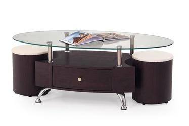 Kavos staliukas Stella su dviem pufais, 120 x 65 x 44 cm