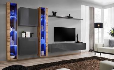 Dzīvojamās istabas mēbeļu komplekts ASM Switch XVI Graphite/Wotan Oak