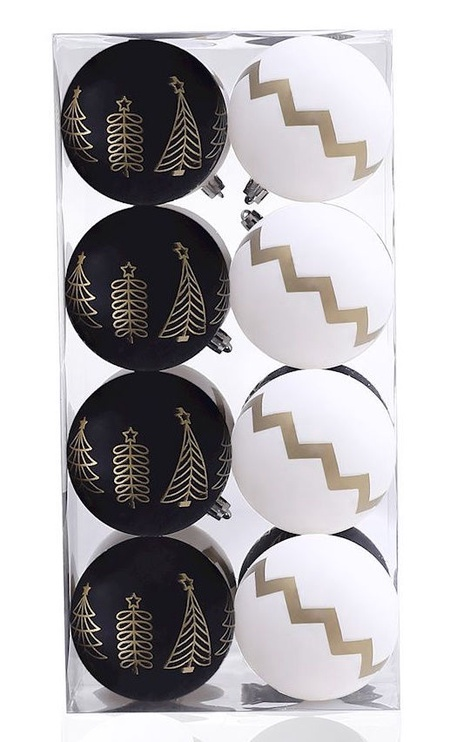 Ziemassvētku eglītes rotaļlieta DecoKing Paris White/Black, 16 gab.