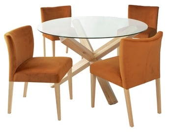 Home4you Turin Dining Set With Round Table 5pcs Brown Orange