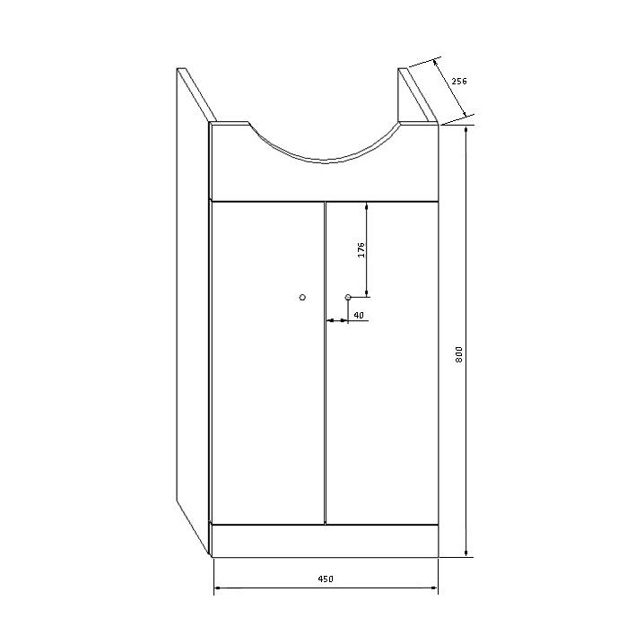 Шкаф для раковины Deftrans, белый, 25.6 x 45 см x 80 см