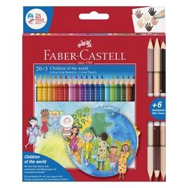 Krāsainie zīmuļi Faber Castell Colour Grip Children Of The World, 23 gab.