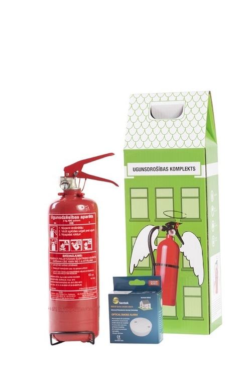 Порошковый огнетушитель 2 кг + детектора дыма - комплект