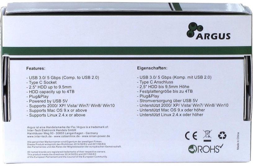 """Inter-Tech 2.5"""" HDD/SSD External Case Black GD-25609"""