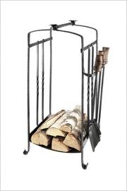 Puukorv sepis 450x400x900mm+3 puidust käepidemega kaminatarvikut