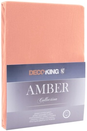 Palags DecoKing Amber, oranža/bēša, 180x200 cm, ar gumiju