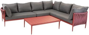 Sodo baldų komplektas Home4you Bremen 15408, pilkas/raudonas, 6 vietų