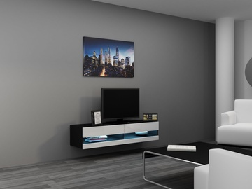 TV staliukas Cama Meble Vigo New 140 Black/White Gloss, 1400x300x1400 mm