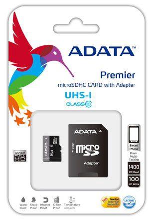 Mälukaart ADATA 16GB Micro SDHC Premier UHS-I U1 Class 10 + Adapter