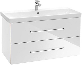 Villeroy & Boch Avento Bath Cabinet with Basin 760x447mm Crystal White