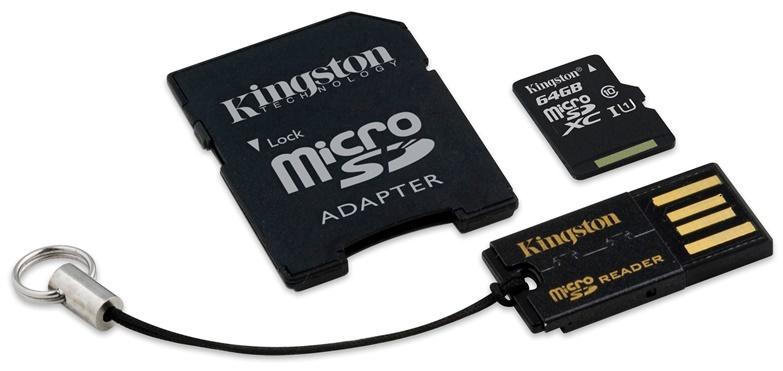 Atminties kortelė Kingston microSD Kit CL10, 64GB + adapteriai