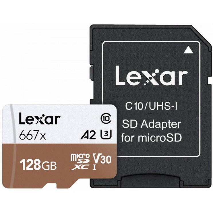 Lexar 128GB Professional 667x microSDXC UHS-I Card U3 V30 + SD Adapter