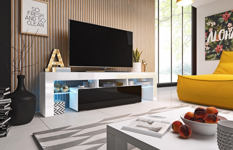 TV galds Cama Meble Toro 158, balta/melna, 1580x400x410 mm