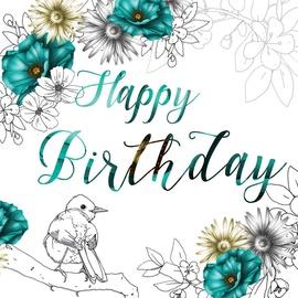 Clear Creations Teal & Lemon Birthday Card CL1408