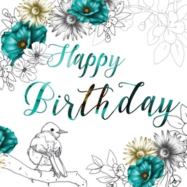 Clear Creations Teal & Lemon Birthday Card CL1408