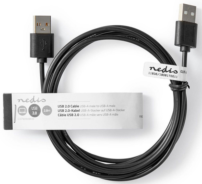 Nedis USB 2.0 Cable A To A 2m Black