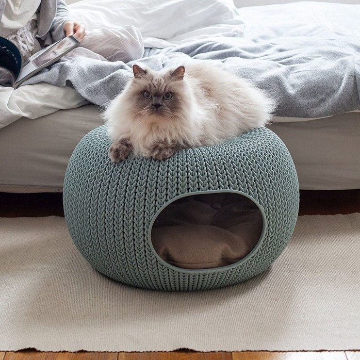 Curver Pet Cusion Two Storey Knit Blue