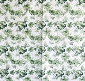 Vannas istabas aizkars Domoletti 182307H, balta/zaļa, 1800 mm x 1800 mm