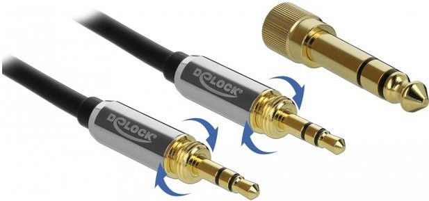 Delock 85785 Stereo Cable 3.5mm Male To Male Black 1m + 6.35mm Adapter