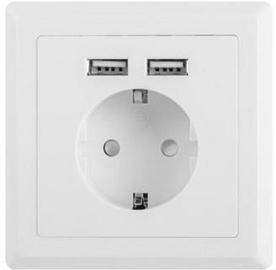 Lanberg French Outlet w/ 2 x USB ports AC-WS01-USB2-F
