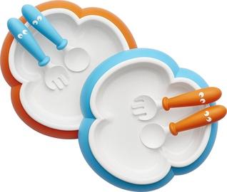 BabyBjorn Baby Plate, Spoon & Fork Orange/Turquoise