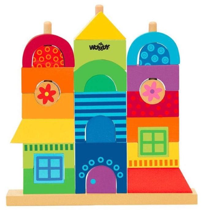 Woodyland Educational Rainbow Stacking House 27pcs 90235