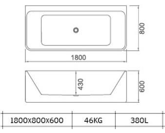Vonia Masterjero Novito Stockhocm B1808, 180x78x63 cm, akrilas, stačiakampė