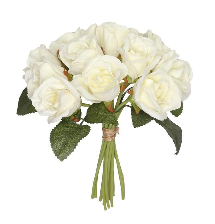 Букет искусственных цветов Roses 8094B.40, белый/зеленый