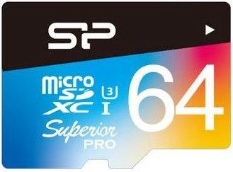 Silicon Power Elite Colorful microSDHC 64GB UHS-I Class 10 U3 + SD Adapter